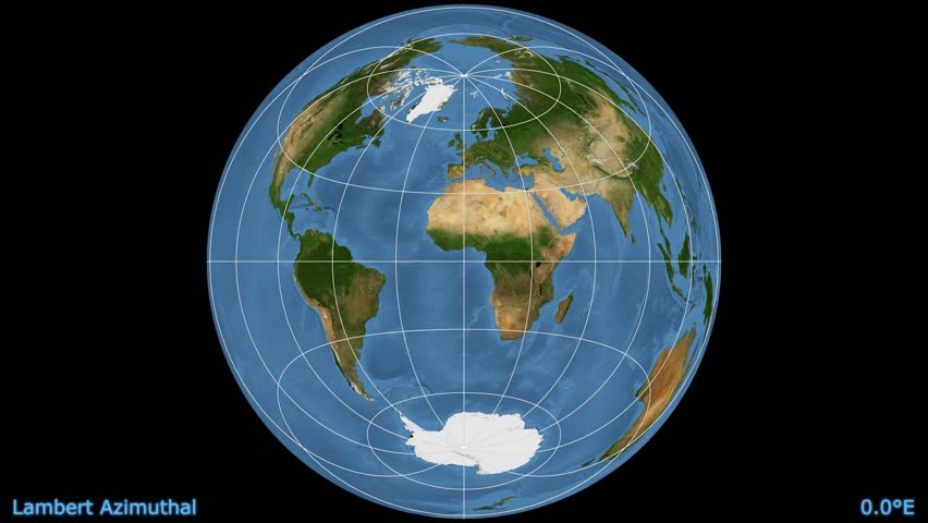 Distortion patterns. Animated world map in the Lambert Azimuthal projection. Blue Marble raster used. Elements of this image furnished by NASA