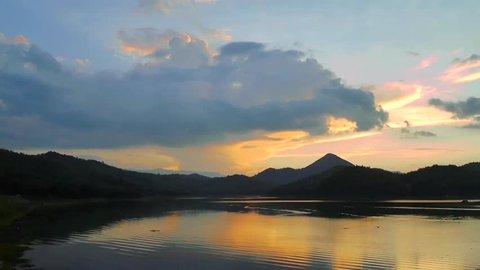 Landscape of mountain and  river in twilight sunset at Huai Krating (Upper Huai Nam Man) Reservoir, Loei –Thailand