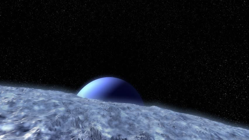 Stock video of aerial over alien moon triton surface ...