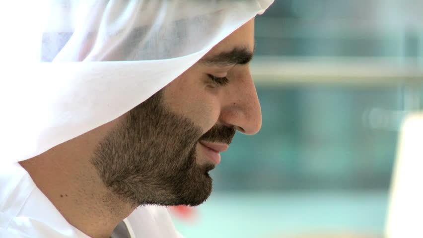 UAE Arabic businessman male beard office coffee property real estate development | Shutterstock HD Video #12326801