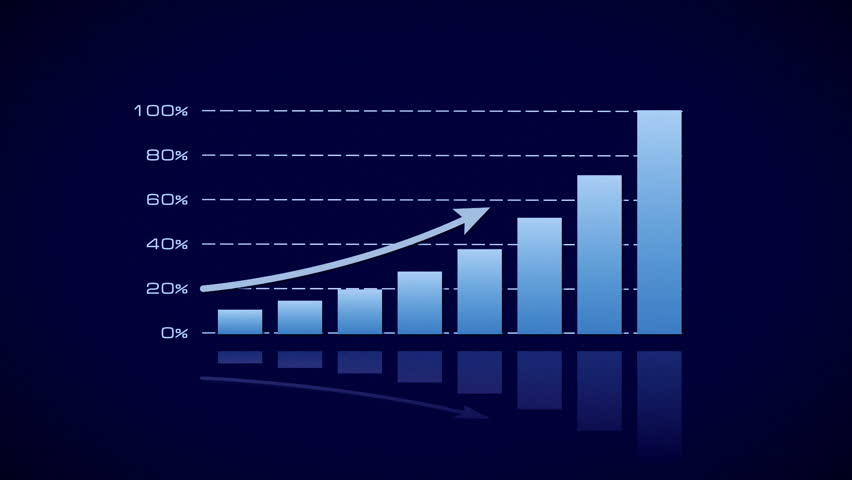 Growing bars, stock bar graph, blue on dark background | Shutterstock HD Video #12367121