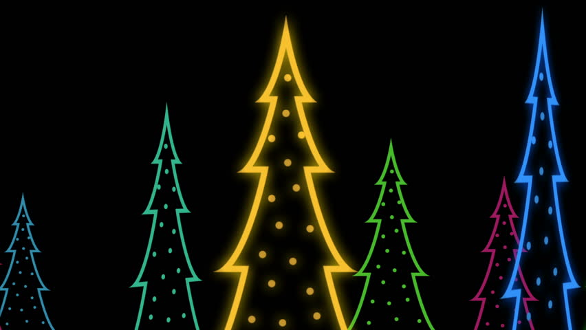 Neon Christmas Trees Animated Background Stock Animation. Neon ...