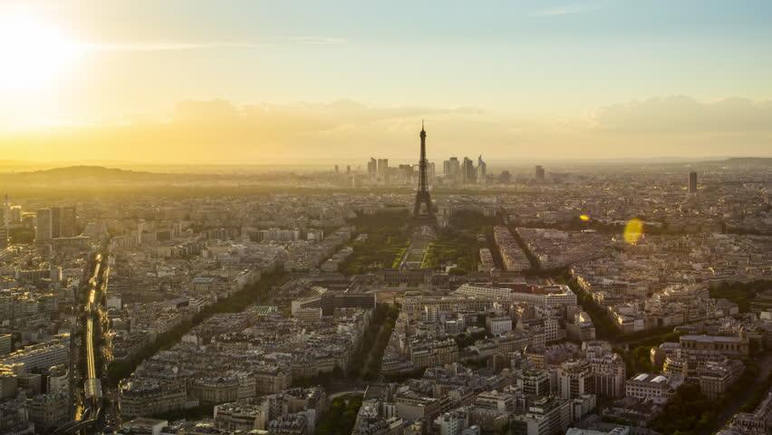 Paris - August 3rd, 2013: Sunset over Eiffel Tower seen from Tour Montparnasse (Montparnasse 56), Paris, France | Shutterstock HD Video #12391961
