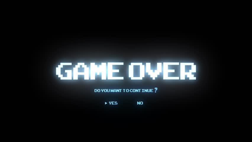 GAME OVER DO YOU WANT TO CONTINUE / GAME OVER CONTINUE ARCADE / GAME OVER TEXT ASKING DO YOU WANT TO CONTINUE IN LIGHT BLUE COLOR | Shutterstock HD Video #12408266