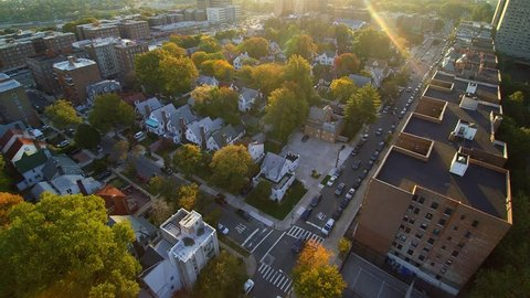 Queens NY sunrise AERIAL viewing typical Queens houses.