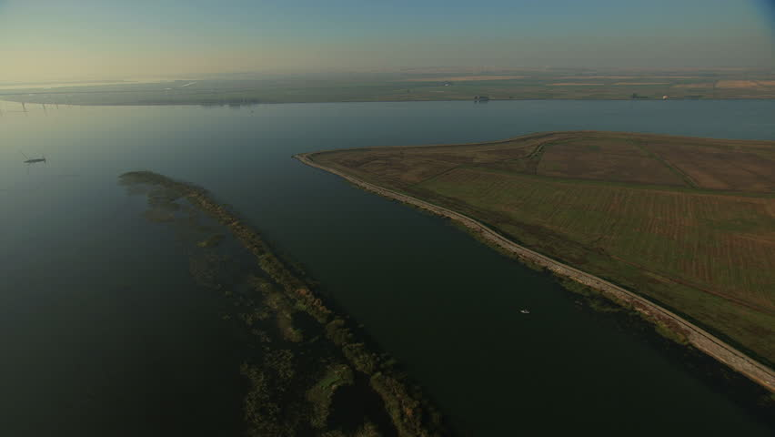 Aerial San Francisco Bay San Joaquin River shore