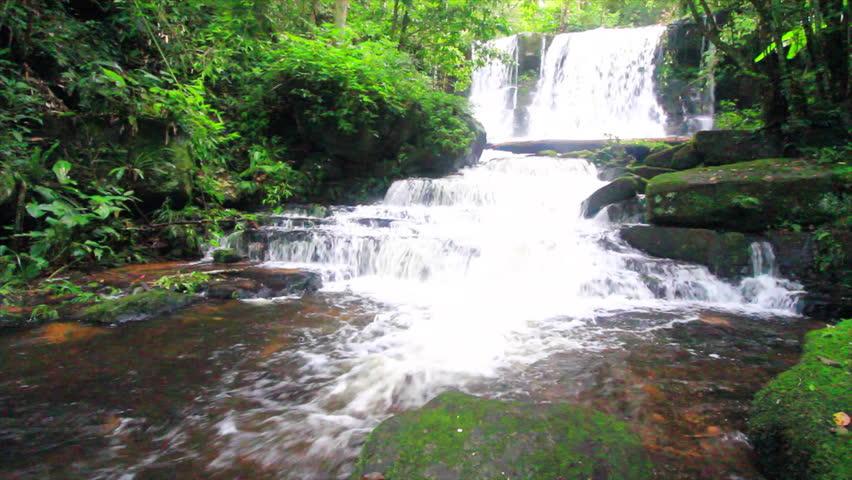 Mhundaeng waterfall or Man Daeng in phu hin rong kla national park, Phitsanulok province asia southeast asia Thailand