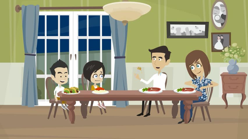 Cartoon Video The Family Eats At Home Table A Dinner 2 Adults And Children Eat Interior Of Apartment Dining Room With Large