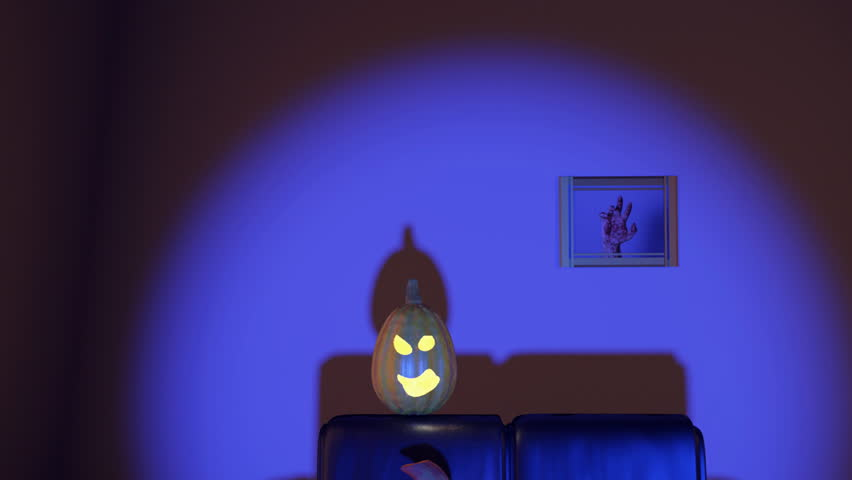 Horrified Pumpkins Watching Tv At Night In The Living Room Stock