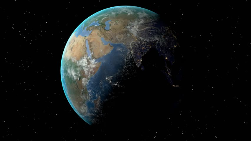 Switzerland outlined zoomed on the rotating Earth. Satellite high resolution (86400 px) raster used. Elements of this image furnished by NASA. | Shutterstock HD Video #12473141