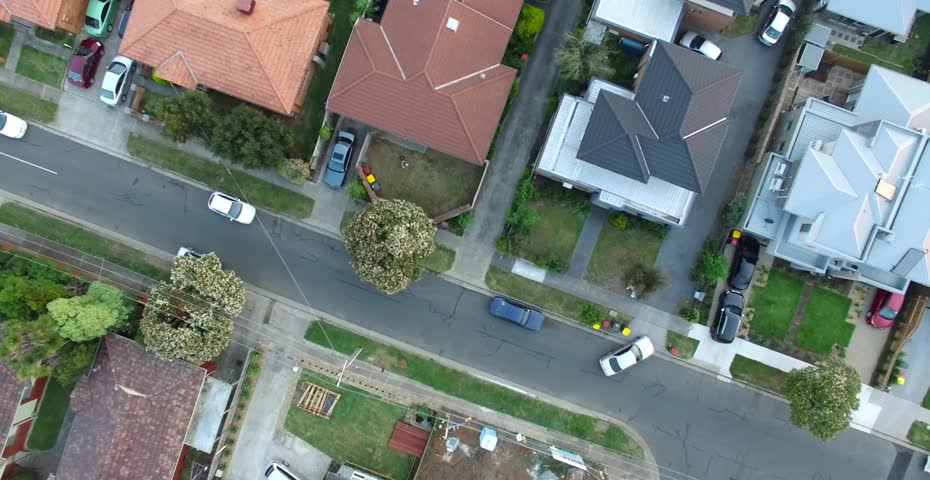Birds eye aerial view of residential houses, suburbia, suburbs | Shutterstock HD Video #12483641