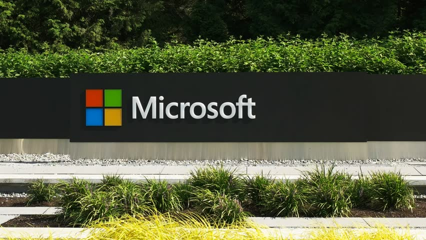REDMOND, WASHINGTON, USA- SEPTEMBER 3, 2015:close up exterior view of the microsoft windows logo and name at their seattle headquarters