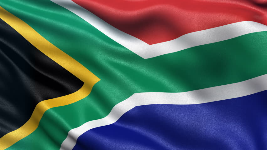 Realistic Ultra-HD flag of South Africa waving in the wind. Seamless loop with highly detailed fabric texture. Loop ready in 4K resolution.