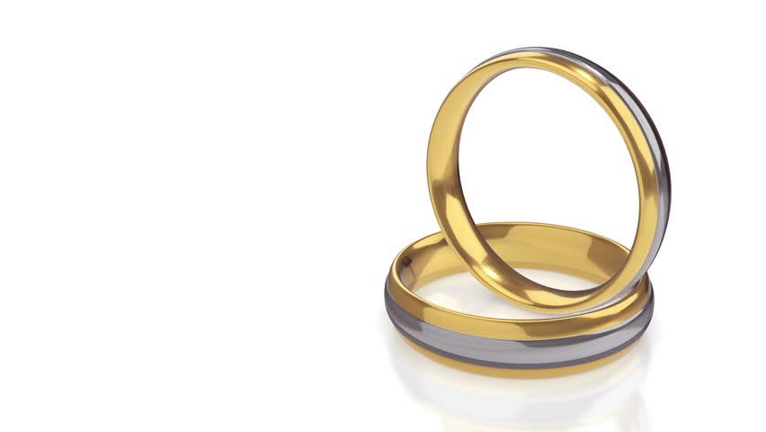 Two Golden Rings On White Background HD High Definition 1080p Loop