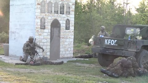 Kossovo, may 2015, kfor soldiers area training injured soldiers secure