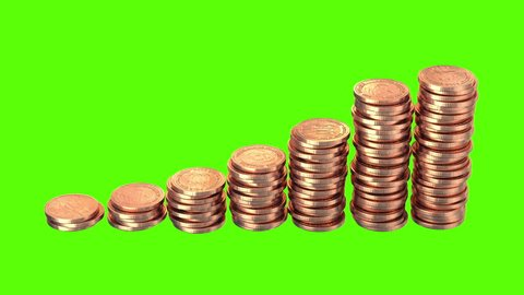 Growing Coins on a Green Background, Realistic 3d render, six animations.