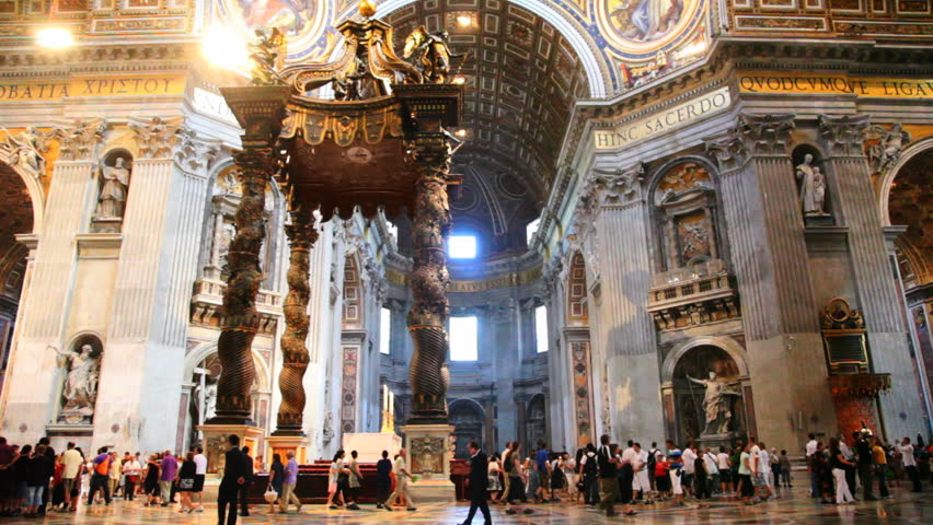 canopy (kivoriy) on four twisted columns, which stand statues of angels inside St.Peters Basilica (Basilica di San Pietro) in Vatican