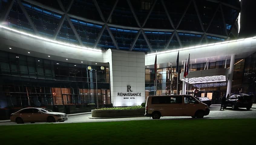 video night lighting of the facade of the hotel renaissance belarus minsk october - Compact Hotel 2015