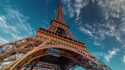 sunset twilight eiffel tower blue sky down to top view paris 4k time lapse france