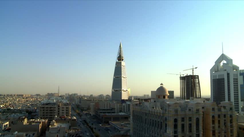 RIYADH, SAUDI ARABIA - March, 2013: Documentary footage shot in Riyadh showing the iconic landmark Al Faisaliyah Tower in the capital city of Riyadh