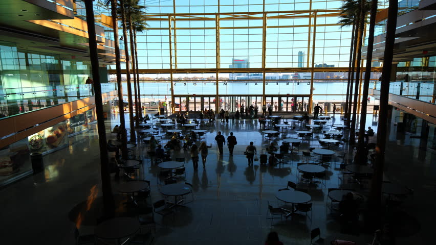 DETROIT, MICHIGAN/UNITED STATES – NOVEMBER 5, 2015: 4K UltraHD Timelapse inside the Renaissance Center in [Detroit]. The Renaissance Center opened in 1997 and serves as General Motors headquarters.