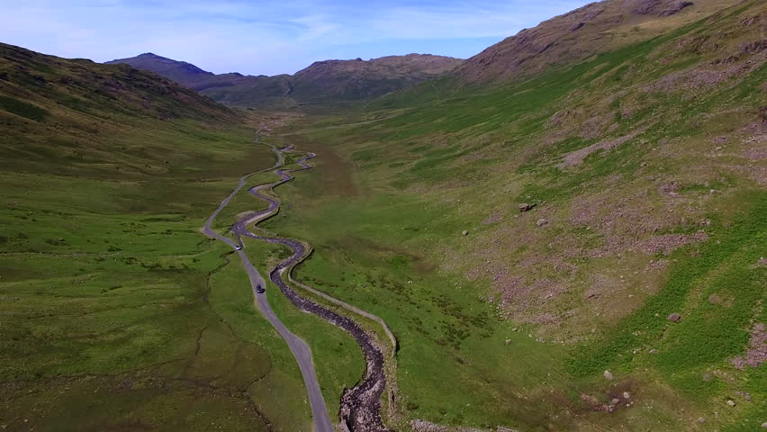 Aerial view of  road through Langdale, Lake District, Cumbria, England