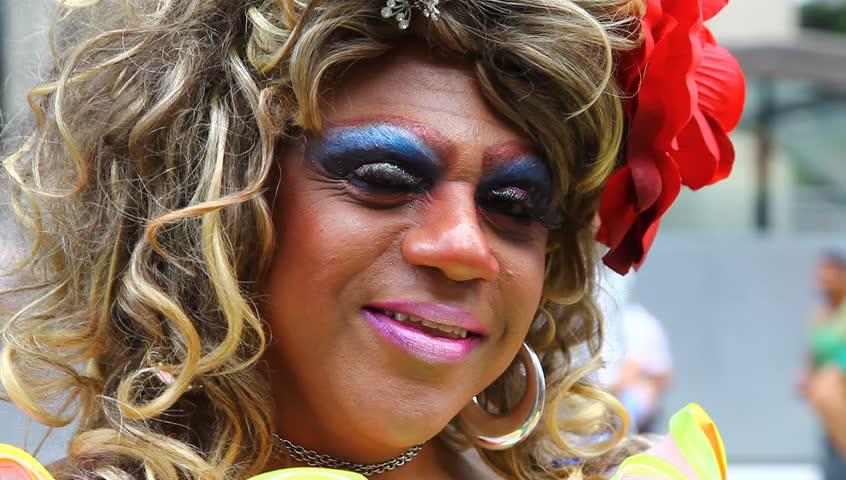 SAO PAULO BRAZIL - JUNE 26: Participant in costume at the Sao Paulo Brazil 15th Annual Gay Pride parade June 26 2011.