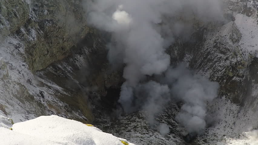 WS HA Elevated view of smoke and exploding lava / Mount Erebus, Antarctica