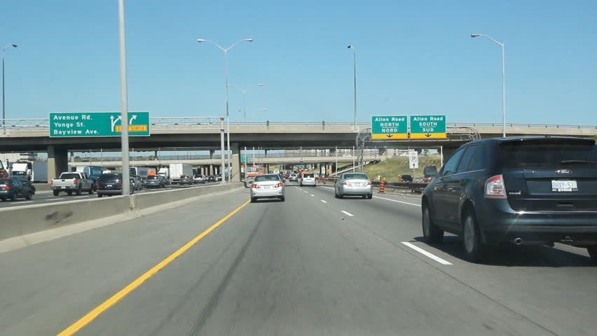 TORONTO, CANADA - JULY 14: Driving on Highway 401 in Toronto on July 14th, 2011. The segment of Highway 401 passing through Toronto is the busiest highway in North America.
