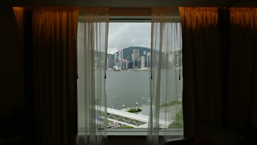 view from a hong kong hotel window over victoria bay to central with window curtains and - Window Clip Frame