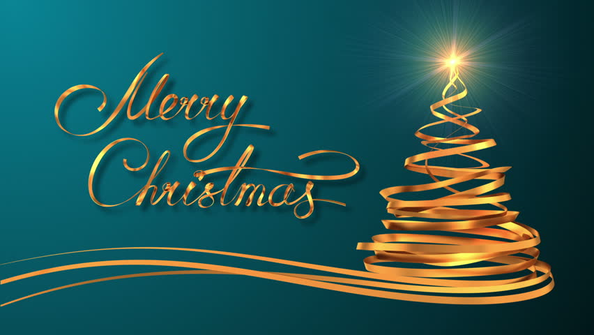 Writing Golden Ribbon Text Merry Christmas And Tree