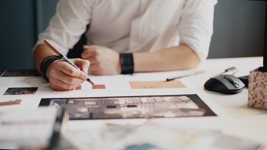 Architect working on blueprint close up | Shutterstock HD Video #12765521