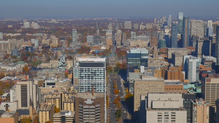 TORONTO, CANADA on NOV 3rd: High angle view of Toronto, Canada on November 3rd, 2015. Toronto is the most populous city in Canada, and the capital of the province of Ontario.  | Shutterstock HD Video #12775961