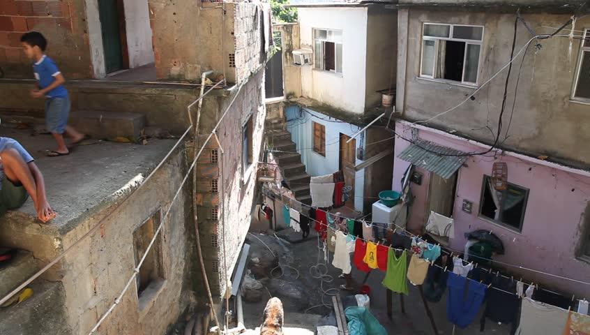 RIO DE JANEIRO BRAZIL - JUNE 17: High Angle view of favela Rocinha's slums June 17, 2011, Rio de Janeiro, Brazil.