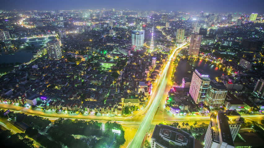 Time Lapse - Ariel View of Hanoi, Vietnam at Night with Traffic on Highway | Shutterstock HD Video #12777731