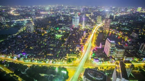 Time Lapse - Ariel View of Hanoi, Vietnam at Night with Traffic on Highway