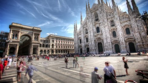 View of Milan Cathedral in Piazza Duomo, Italy. HDR Time lapse.