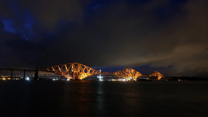 Timelapse of Forth Rail Bridge at night Scotland   Shutterstock HD Video #12794711