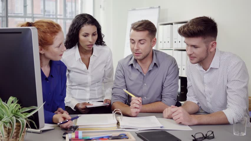 Group of Four Young Business Stock Footage Video (100% ...