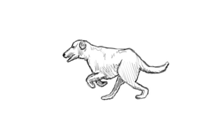 cartoon - running dog isolated on background