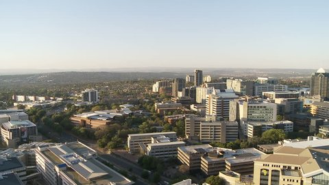 Elevated view of the affluent suburb Sandton in Johannesburg, South Africa, the hub of financial activities in the country