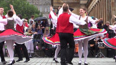 Edinburgh. Scotland. June 2015. Traditional Bavarian Folk Dance. Germany Europe