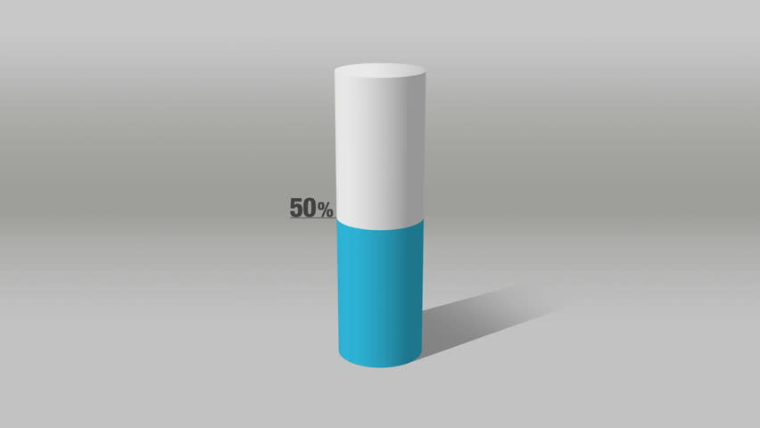 Indicate about 50 percents, growing 3D Cylinder circle bar chart(included alpha) | Shutterstock HD Video #12880931