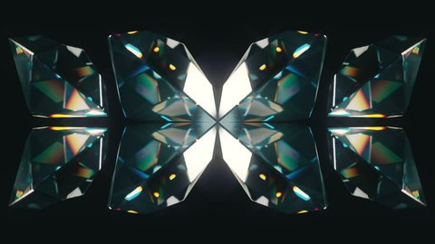 Eight colourful tilted diamonds rotating on a black background. Looping animation.