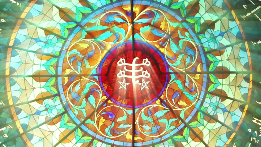 Stained Glass with Bahai ringstone symbol (HQ 1080p Seamless Loop)