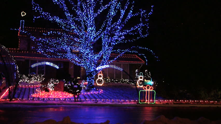 massive outdoor home Christmas lights display