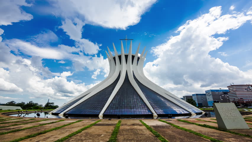 Brasilia, Brazil - Circa November, 2015: Timelapse view of the Cathedral of Brasilia, designed by Oscar Niemeyer and completed on May 31, 1970, in Brasilia, Brazil.
