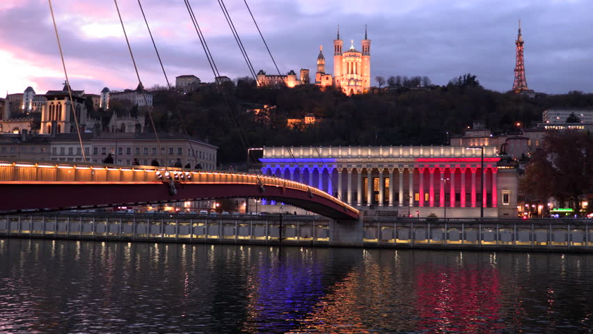 4K timelapse, footbridge, courthouse and basilica by night, Lyon, France.