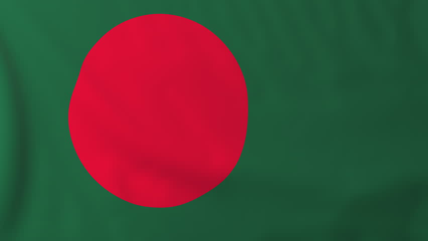 Flag of Bangladesh, slow motion waving. Rendered using official design and colors. Highly detailed fabric texture. Seamless loop in full 4K resolution. ProRes 422 codec.