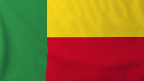 Flag of Benin, slow motion waving. Rendered using official design and colors. Highly detailed fabric texture. Seamless loop in full 4K resolution. ProRes 422 codec.
